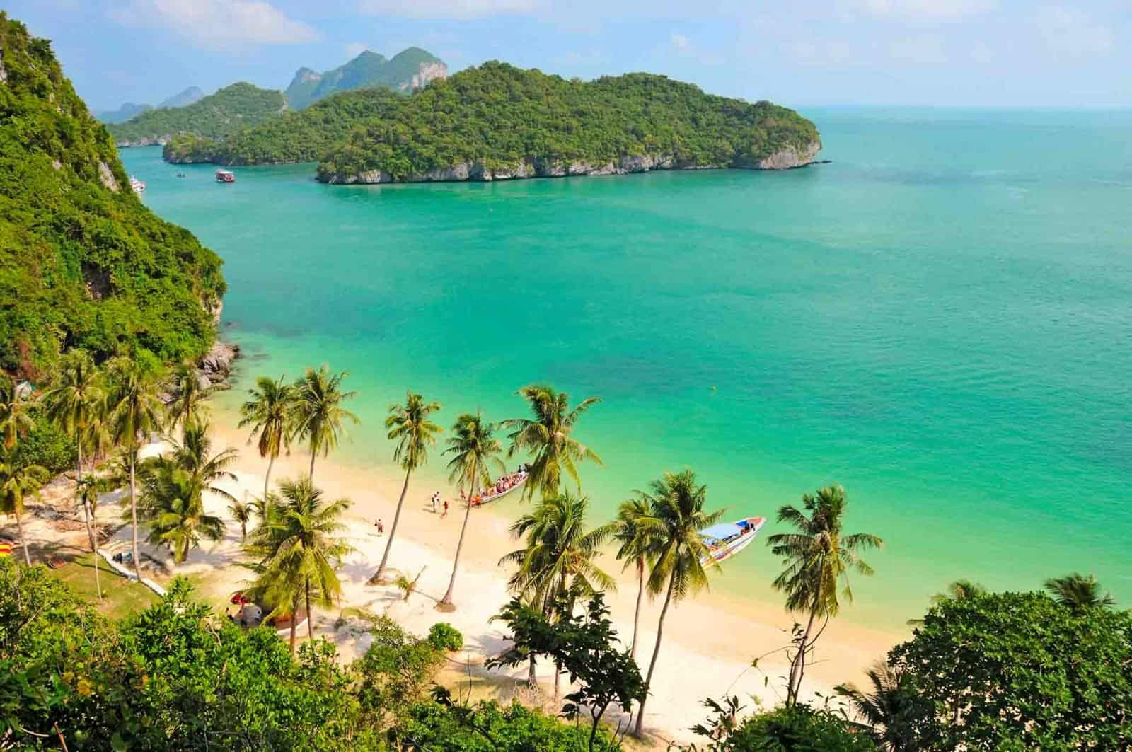 Beautiful archipelago of 42 tropical islands, View from Wua Talap Island, Boat Trip from Koh Samui to Ang Thong National Marine Park, Thailand